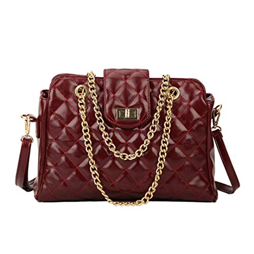 Retro Fashion Female Big Bag Pu Leder Damen Designer Handtasche Messenger Bag Wine Red