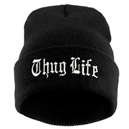JJHR Mütze Black Letter Hat Für Männer Thug Life Strickmützen Männlich Weiblich Winter Skullies Und Mützen Frauen Casual Hüte Caps