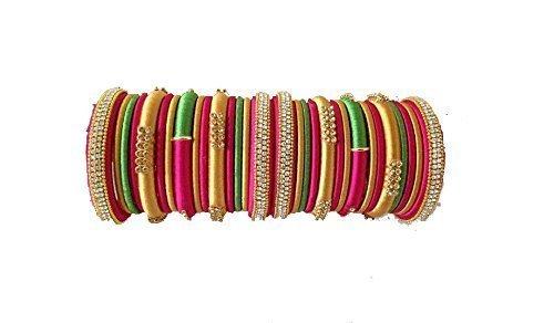 Vani Pink - Green - Gold Designed Shine Silk Thread Bangles for Women (RK5)