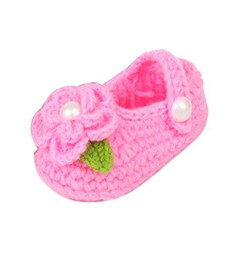 Tonsee Krippe häkeln Casual Baby Mädchen Handarbeit Socken Baby stricken Rose Schuhe (rosa) (Krippe Adidas)