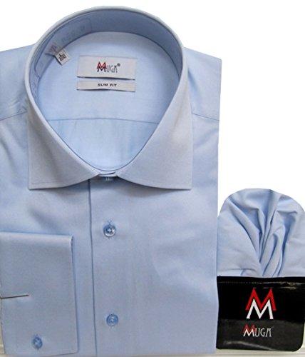 Glanz Herren Hemd Slim-Fit/Tailliert MUGA Hellblau