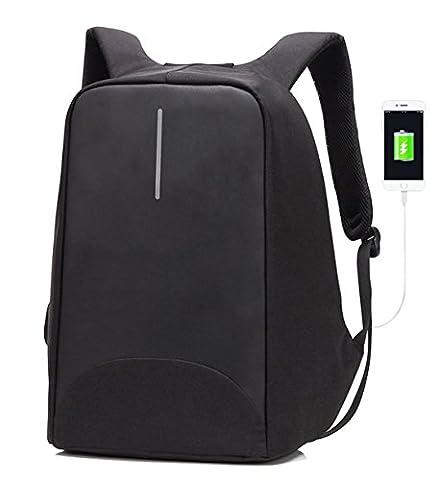 Sac à dos professionnel pour ordinateur portable avec fermeture à glissière anti-voleur et port de chargement usb sac de voyage-Noir