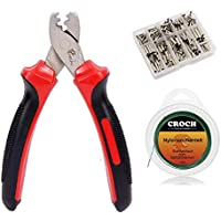 Crimp Sleeves Set with Fishing Pliers+300 Singel Barrel Crimps Sleeves in 7 Different Sizes