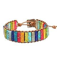 ZHMEI Women Men Leather 7 Chakra Bracelet, Leather Chakra Handmade Imperial Jasper Wrap Adjustable Bead Bracelet Popular Bracelet (Multicolor)