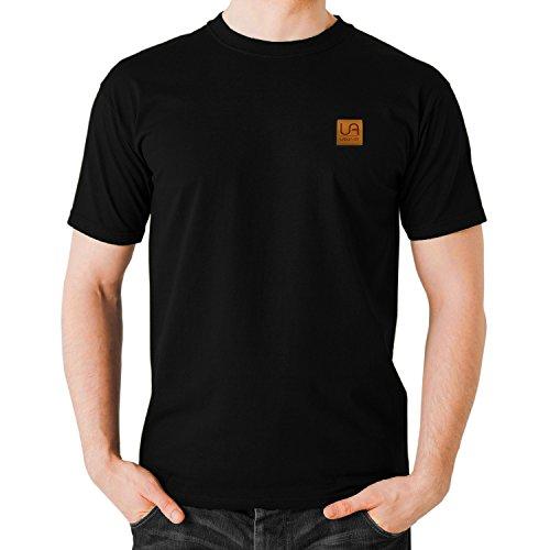 Herren Stilvolle-print T-shirt (urban air StyleFit | T-Shirt Basic | Herren | Sport und Freizeit | 95% Baumwolle, Leder-Patch, Kurzarm | Weiß, Schwarz, oder Hell/Dunkel Grau | S, M, L, XL (M, O-Neck Schwarz))