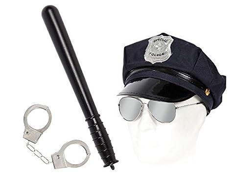 Déguisement policier Ensemble de 4 pièces: casquette Police Américaine + lunettes + menottes + Matraque (KV-52) déguisement soirée déguisée homme femme ambiance spéctacle costumerie