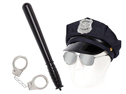 kleidung Outfit Fasching Kostüm Cop Paket Polizeihut + Pilotenbrille + Handschellen + Schlagstock Alsino KV-52 (Cop Outfit)
