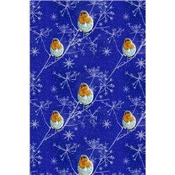 6 Bögen - Geschenkpapier Weihnachten - Midnight Robin - Rotkehlchen -
