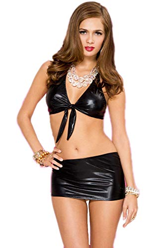 a50b4c3e9b 38% Mpitude Women s Fantasy Costume Faux Leather Babydoll Set Sexy Front  Knot Bra with Mini Skirt Knot