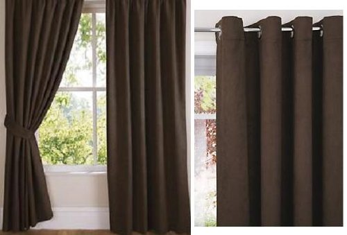 Faux Suede Soft Touch Chocolate Fully Lined Eyelet / Ring Top Curtain Drapes (66