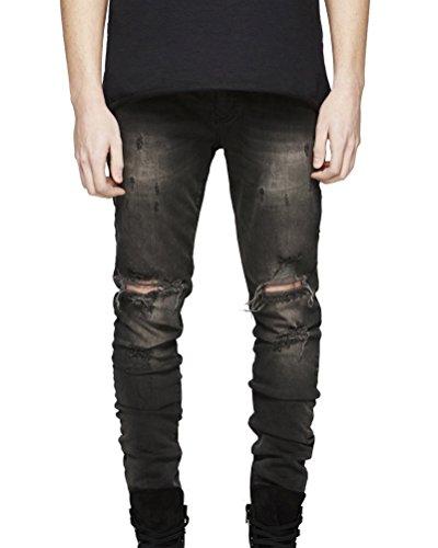 Persönlichkeit Biker-Jeans Herren Hose Stretch-Denim Slim-Fit Zipper Destroyed Jeanshosen Grau