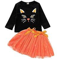 Vestido Niña Bebé Niños Niñas Manga Larga Estampado de Gato Camisa de Halloween Tops + Vestido de Falda Tutu con Lazo