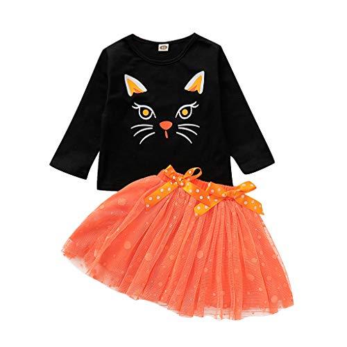 DOLLAYOU Babykleidung Set Halloween Oberteil Kleid Tutu Mesh Kurz Anime 3D Printed Kostüm Mädchen Baby Kürbis Baumwolle 1-5 Jahre (Kinder Vogelscheuche Baby Kostüm)