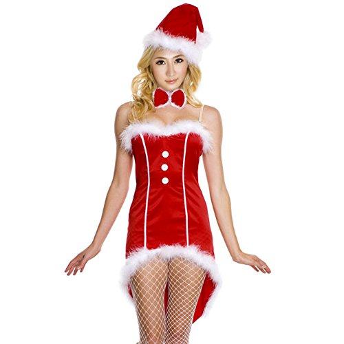 tüm Set Weihnaten Damen Mini Kleid Weihnachtsfrau Weihnachtsmütze (Rot 3) (Mini Miss Santa Kostüme)