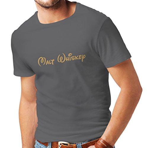 lepni.me Männer T-Shirt Malt Whisky - lustige Trinkzitate, Coole Alkohol Sprüche (Large Graphit Gold)