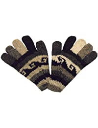 Hand knitted Fair Trade Black and White 100% Wool Gloves