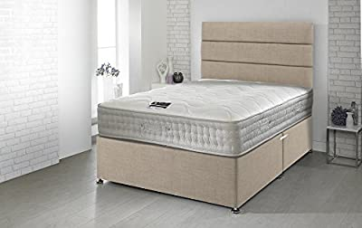 Happy Beds Divan Bed Set Bamboo With 2 Drawers Memory Foam Pocket Sprung Mattress 4'6'' Double 135 x 190 cm - inexpensive UK light store.