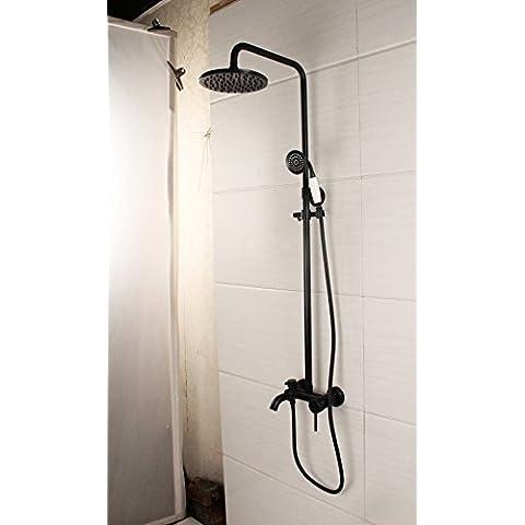 Furesnts casa moderna cucina e bagno rubinetto Cu tutti continental oro anticato spazzolato high-end nero giada bronzo kit doccia a pioggia ,(Standard G 1/2 tubo flessibile universale porte)