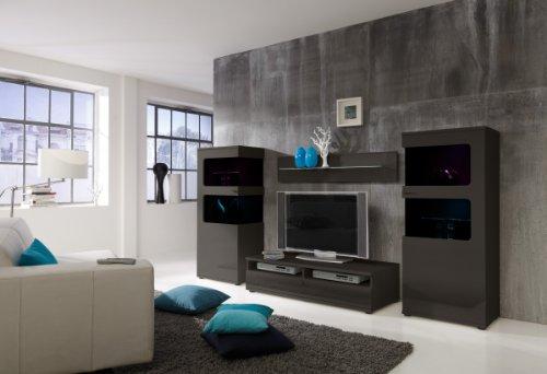 Wohnwand Anbauwand Grau, Fronten Hochglanz, optional mit LED-Beleuchtung (Film), Beleuchtung:mit Beleuchtung