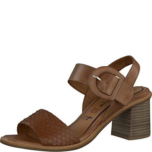 Tamaris Schuhe 1-1-28314-28 bequeme Damen Sandalette, Sandalen, Sommerschuhe für modebewusste Frau, braun (COGNAC), EU 37