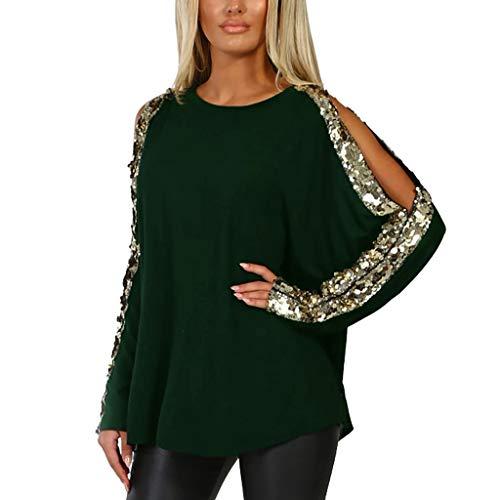 ESAILQ Damen Beiläufig Oansatz Pailletten Langarm Aushöhlen Damen Tops Tshirt Bluse(XX-Large,Grün) -