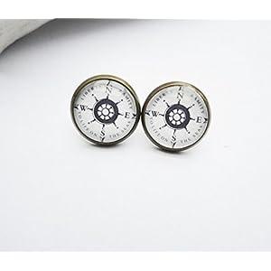 Ohrstecker Ohrringe Ohrschmuck Kompass grau weiß
