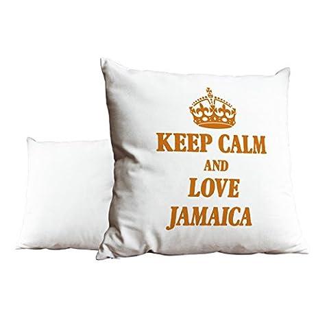 Orange Keep Calm and Love Jamaica Blanc Scatter Taie d'oreiller 1971