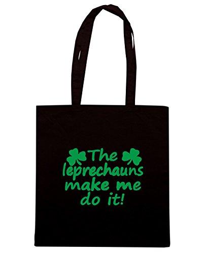 T-Shirtshock - Borsa Shopping TIR0135 leprechauns made me do it dark tshirt Nero