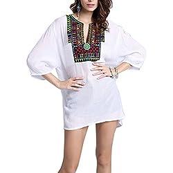 las mujeres Boho largo manga Casual blusa T-shirt de la camiseta de la blusa Un tamaño Blanco 3