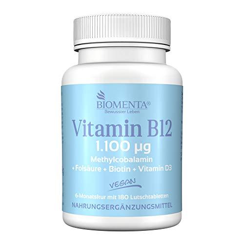 BIOMENTA VITAMIN B12 HOCHDOSIERT | AKTION!!! | 1.100 mcg Methylcobalamin + Vitamin D3 + Biotin + Folsäure | VEGAN | 6 MONATSKUR | 180 Vitamin-B12-Lutschtabletten