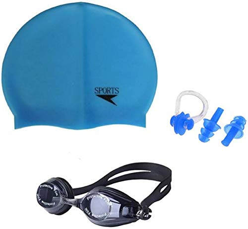 Credence Sports  Swimming Cap, Swimming Goggle, Set of Ear   Nose Plug  Swimming Kit