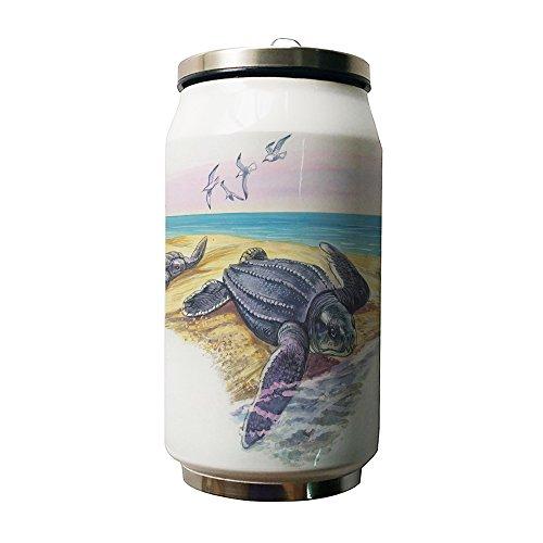 okoukiu Tartaruga di mare e di pesci bianco doppio isolamento a vuoto in acciaio inox (Pesce Tumbler)