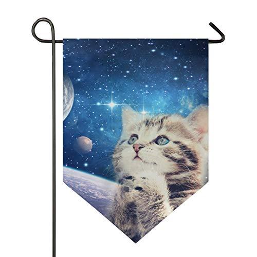 NaiiaN Garten Flagge doppelseitig Sternenhimmel verspielte Katze 28 x 40 Zoll Banner für Outdoor Rasen Dekor -