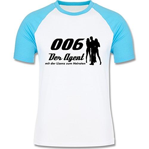 JGA Junggesellenabschied - 006 der Agent - zweifarbiges Baseballshirt für Männer Weiß/Türkis