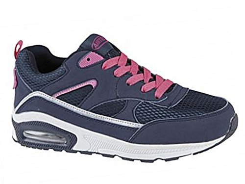 Ladies Running Trainers Air Tech Shock Absorbing Fitness Gym Sports Shoes Size 6 UK, Navy/Pink