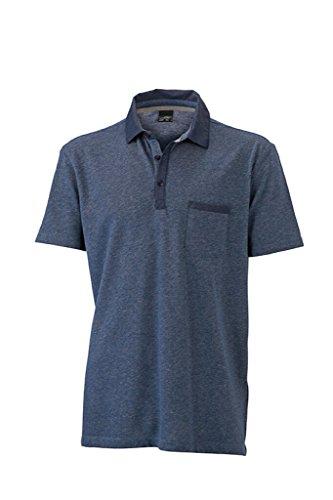 JAMES & NICHOLSON Melange Polo mit trendigen Jeans-Details light-denim-melange/dark-denim
