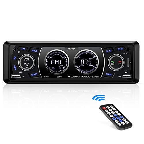 Autoradio Bluetooth ieGeek, Auto Stereo Audio Ricevitore 60WX4 Supporta FM Riproduttore MP3 Player USB/SD/AUX/Telecomando, 1DIN