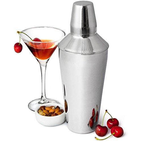 bar@drinkstuff Manhattan - Coctelera (acero inoxidable, 3 piezas, incluye colador, 26 cm, capacidad de 750 ml)