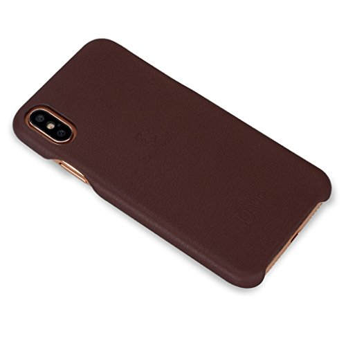 iPhone X Rückseite Hülle - Ultra Dünn Weich Rückseitige Abdeckung Elastizität PU Leder Schutzhülle für iPhone X Smartphone Rückenschale - Gold Braun