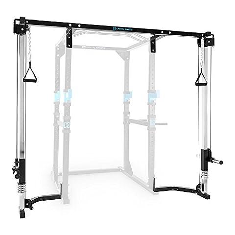 CAPITAL SPORTS CA - Extension avec câble de traction latissimus pour power rack cage à squat Capital Sports Tremendour (max 100kg, adapté pour disque à ouverture 30mm)