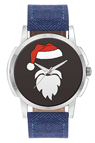 Wrist Watch - Minimal Santa Claus Illustration Analog Men's and Boy's Wrist Watch - Unique Analog Quartz Leather Band Wrist Watch by BigOwl