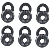 """6 Piece SMALL Soft Black Rubber """"Loopgel"""" for Bluetooth Headset Shadowbox"""