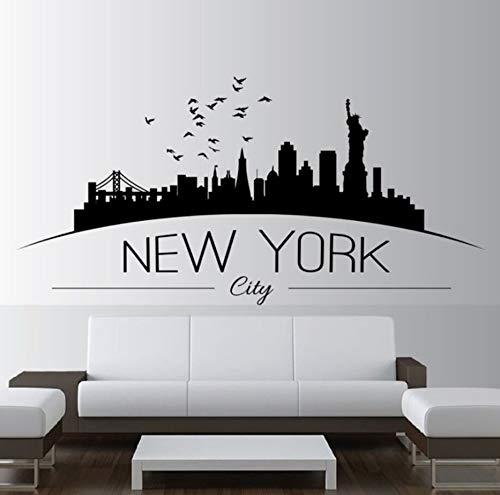 Knncch Wohnkultur Große Nyc New York City Skyline Wandtattoos Skyline Silhouette Wandaufkleber Schlafzimmer Dekoration 116X57 Cm