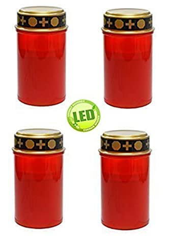 Set of 4 Red LED Memorial Candle, burner, Eternal light with flicker effect by Fachhandel-Plus