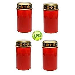 Juego de 4 graves luces rojas , velas LED , sepulcro vela, Luz Eterna , flicker