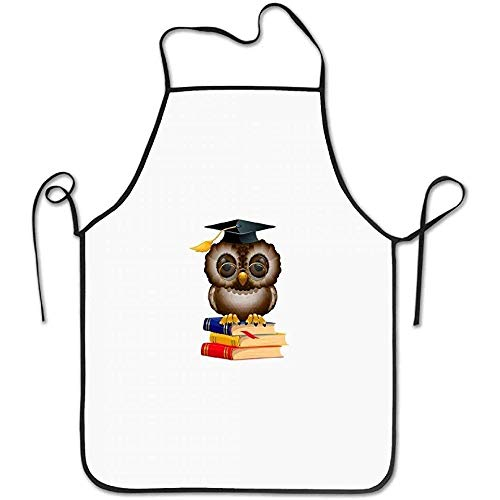 White Kostüm Owl - Restaurant Aprons Owl with School Books and Cap Funny Cooking Apron for Men - BBQ Grill Kitchen Chef Barbecue Gifts, One Size Fits Most