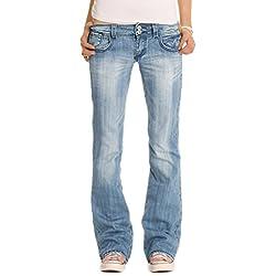 Bestyledberlin Jean pour femmes, jean à taille basse / bootcut j06x, Blau, 38