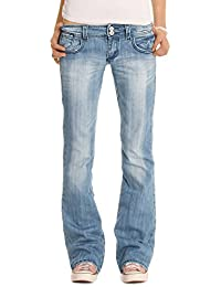 Bestyledberlin Damen Jeanshosen, Hüftige Regular Fit Jeans, Basic Boot-Cut Jeans j06x