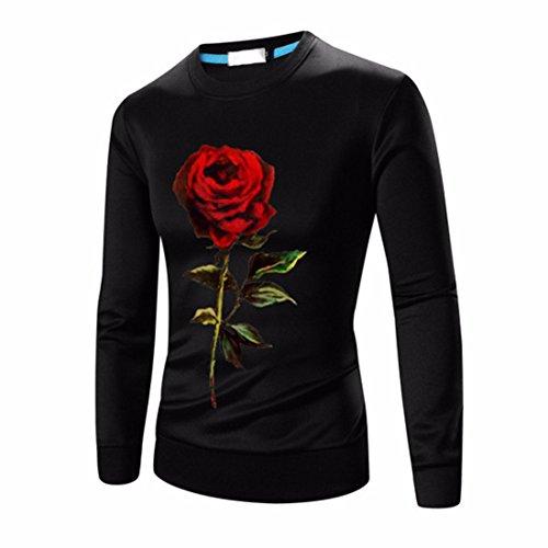 Men's Fashion Slim Sit Knitting Crew Neck Pullover Sweatshirt Black Red