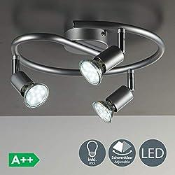 B.K. Licht plafonnier 3 spots pivotants, ampoules LED GU10 fournis, lampe moderne, éclairage intérieur, lumière blanche chaude, chambre salon cuisine salle à manger, 230V, IP20, 3x3W